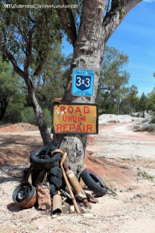 Road under repair, The Grawin, Lightning Ridge. New South Wales, Australia