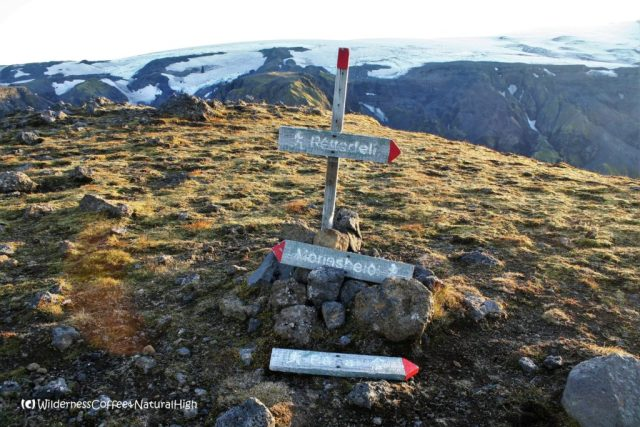 Signpost on top of Útigönguhöfði mountain, Thórsmörk hiking trail, Þórsmörk, Iceland