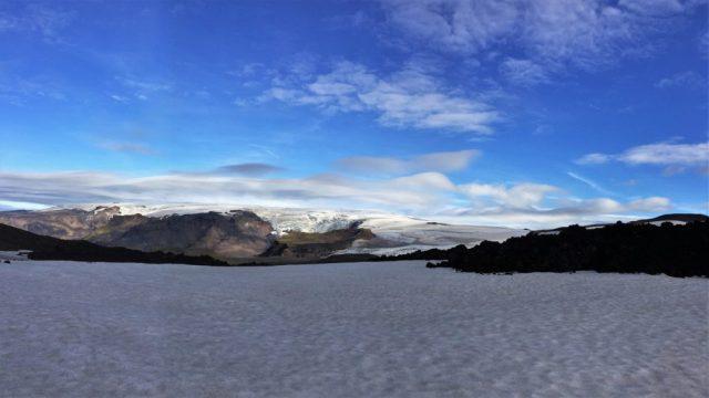 Snowfield and Fimmvörðuháls fissure, Eyjafjallajökull, Iceland