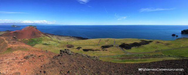 View from the top of Helgafell volcano, Heimaey, Vestmannaeyjar, Iceland