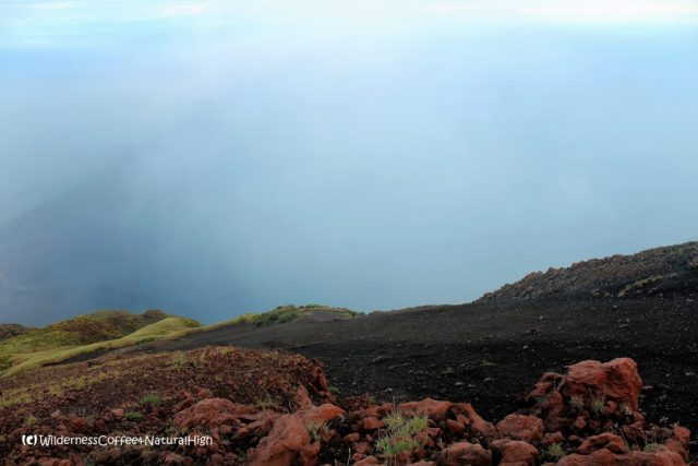 View down the slope of Stromboli volcano, Italy