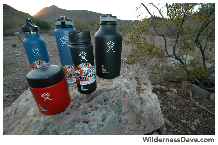 an assortment of Hydroflask insulated bottles