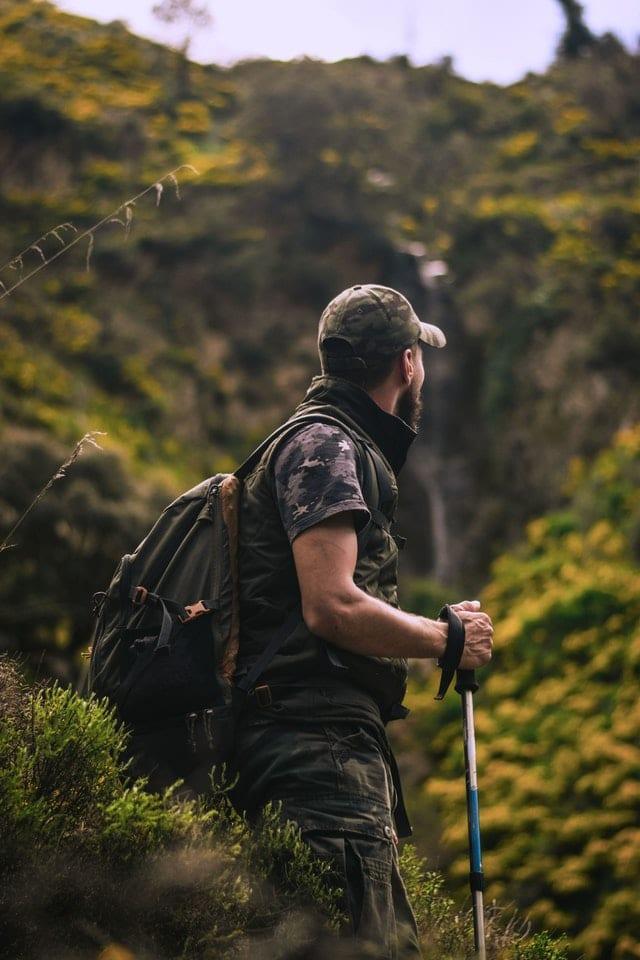 a man wearing shirt during hiking