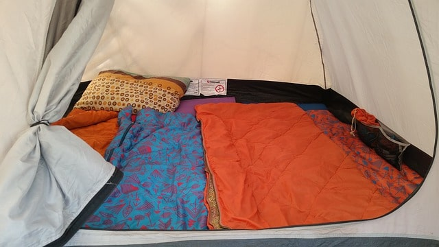 tent with sleeping bags