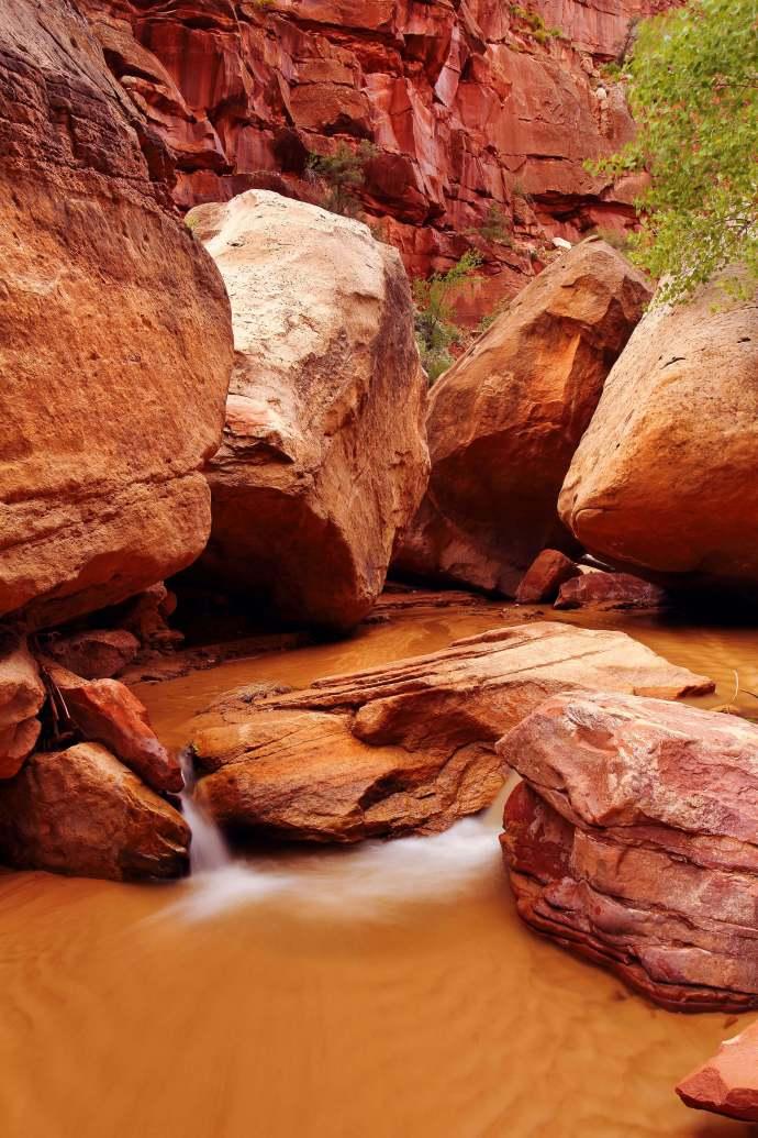 Hackberry Creek cascades through a boulder field