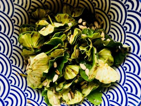 Salat aus Buchenkeimlinge und Kapern