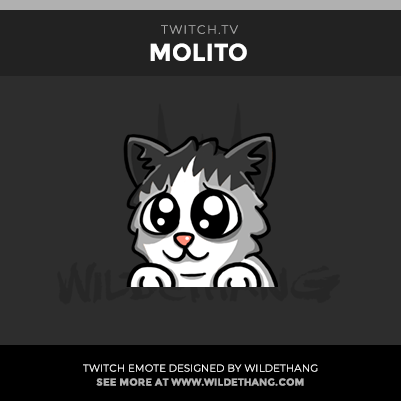 Molito's Kitty Cat Twitch Emote designed by WildeThang
