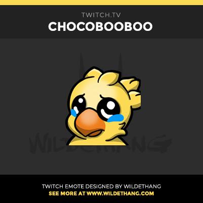 Chocobooboo Sad Chocobo Twitch Emote designed by WildeThang