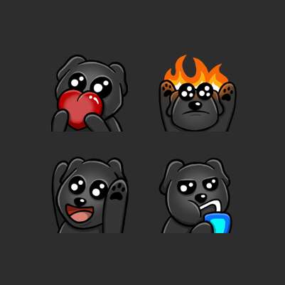 Peteriliac's Dog Hype, flame, hi, sip, opps and love Twitch emotes designed by WildeThang