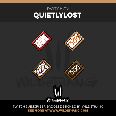 QuietlyLost's Pop Tart Twitch Subscriber Badges design by WildeThang