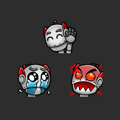 SyntaxSe7en's Sad, Hi and Rage Robot Twitch Emotes designed by WildeThang