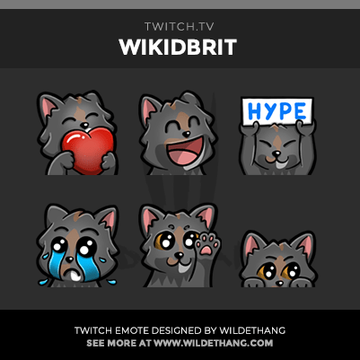 WikidBrit's Kitty Cat Twitch Emotes designed by WildeThang