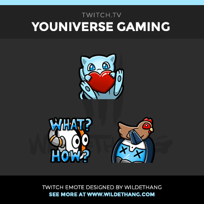 YOUniverse Gaming Pokemon and Destiny themed Twitch emotes designed by WildeThang