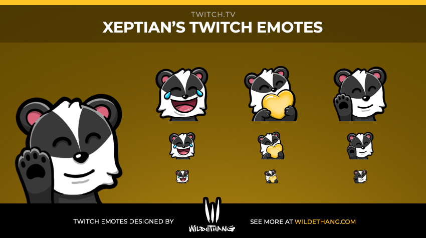 Xeptian's Badger Twitch Emote designed by WildeThang