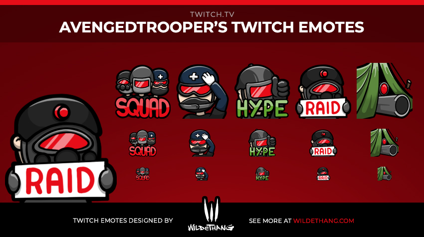 AvengedTroopers Military Twitch emotes designed by WildeThang