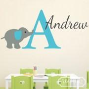 Elephant Personalized Monogram Jungle Theme Vinyl Wall Decal