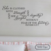 Proverbs 31:25 Vinyl Wall Decal version 2