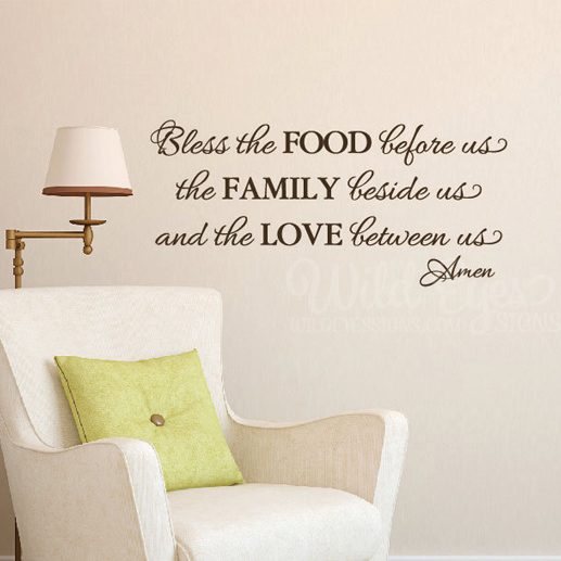 Bless the Food before us Vinyl Wall Decal
