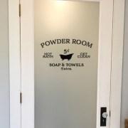 Powder Room Hot Bath Get Clean Soap & Towels Extra Vinyl Decal