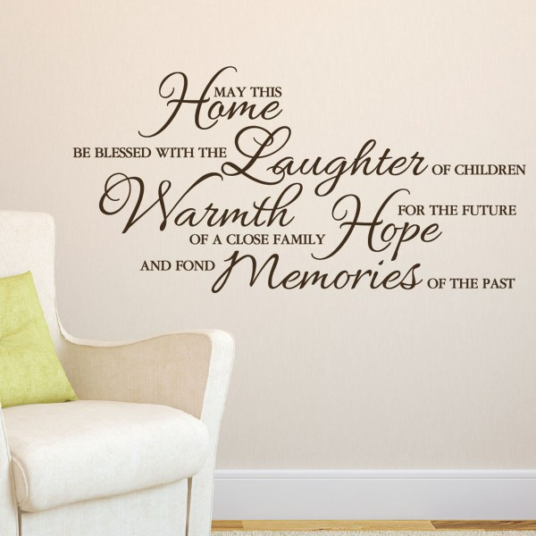 May This Home be Filled with Laughter Warmth Hope Memories Vinyl Wall Decal