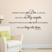 John 3v16 Vinyl Wall Decal 3 Spanish