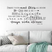 John 3v16 Vinyl Wall Decal 4 Spanish