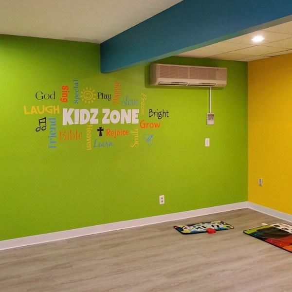 KIDZ ZONE Word Collage Vinyl Wall Decal