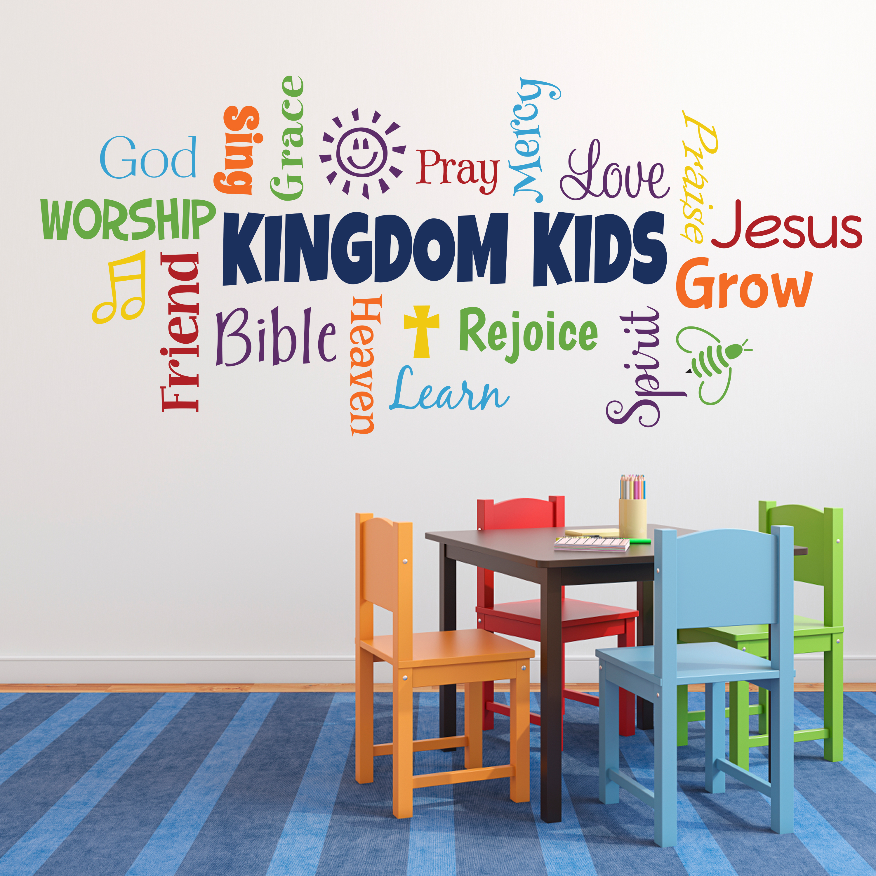 Kingdom Kids Word Collage Vinyl Wall Decal Sunday School