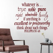 Philippians 4v8 Vinyl Wall Decal 2