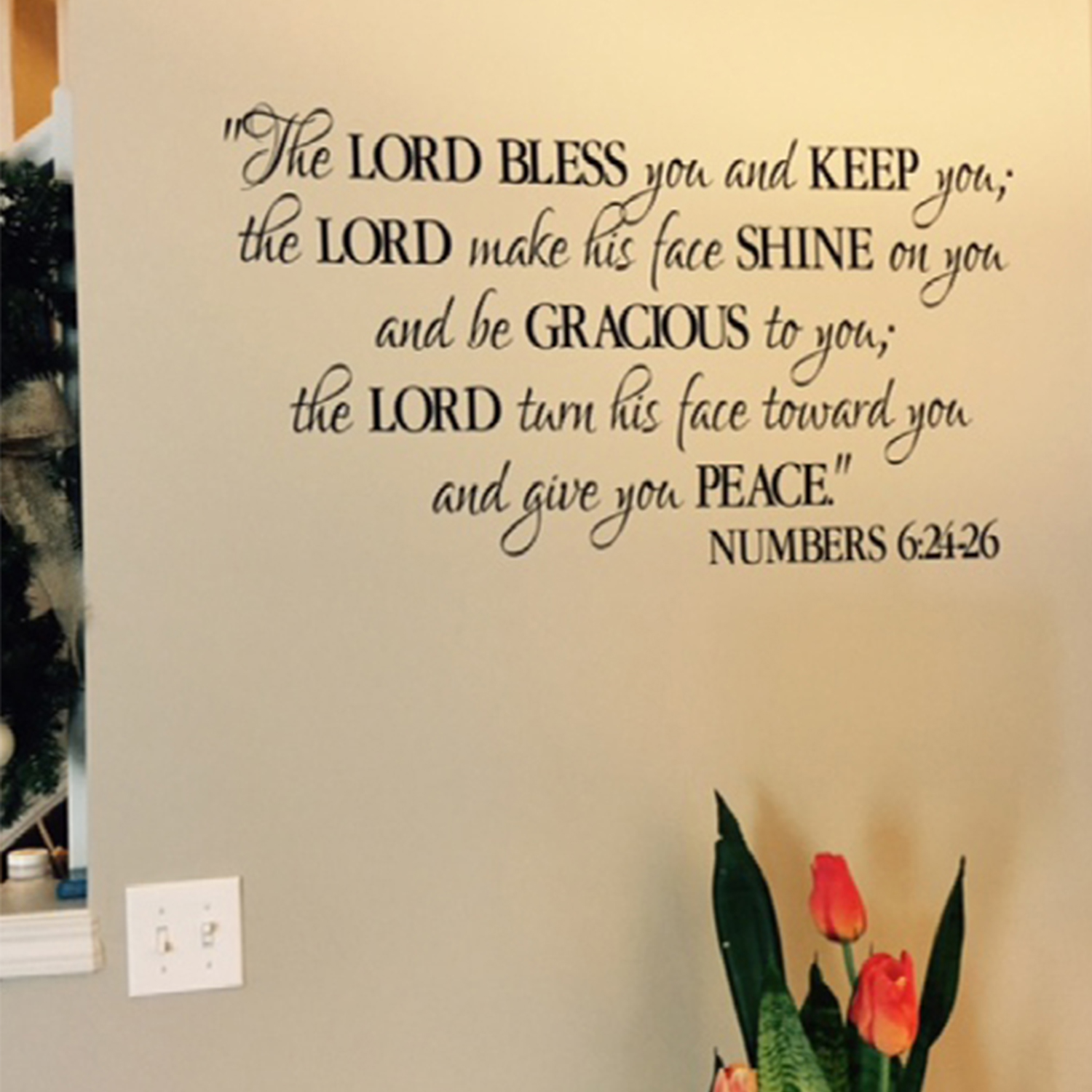 Numbers 6v24-26 Vinyl Wall Decal 2 The Lord Bless You and Keep You