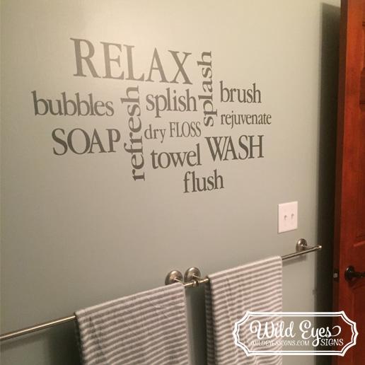 Bathroom Wall Words Collage Vinyl Wall Decal