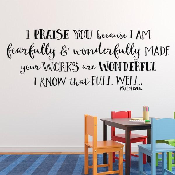 Psalm 139v14 Vinyl Wall Decal 23