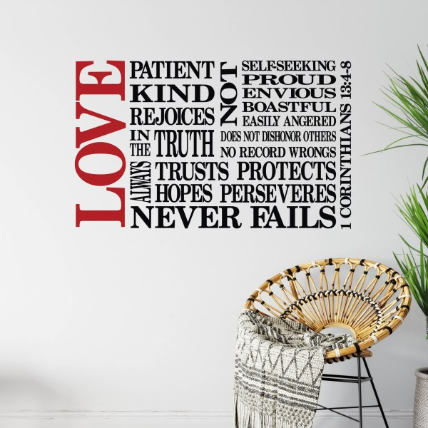 1 Corinthians 13v4-8 vinyl wall decal