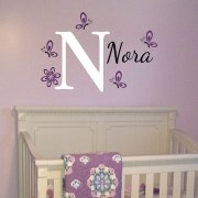 Butterflies Monogram Vinyl Wall Decal