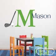 Golf Sport Theme Monogram Vinyl Wall Decal