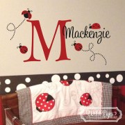 Ladybugs Poka Dot Monogram Vinyl Wall Decal