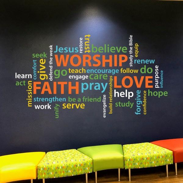 Faith Worship Love Vinyl Wall Decal 2