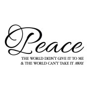 Peace The World Didn't Give it to Me Vinyl Wall Decal
