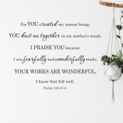 Psalm 139v14 Vinyl Wall Decal 30