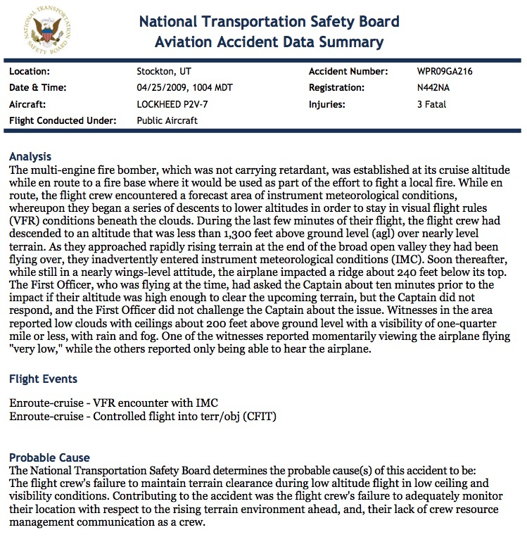 NTSB accident summary p2v