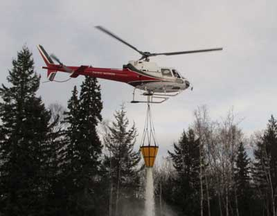 Helicopter with bucket