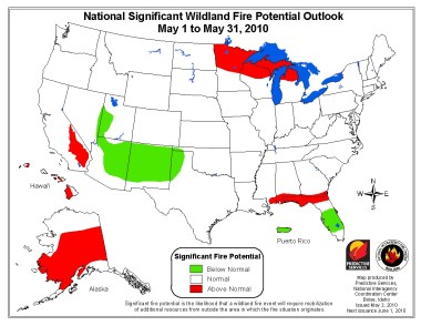 Wildfire outlook, May, 2010