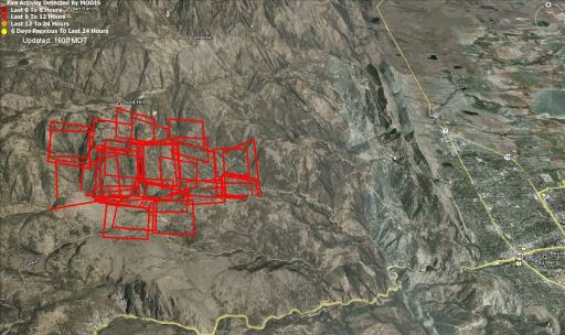 Map of the Fourmile fire near Boulder