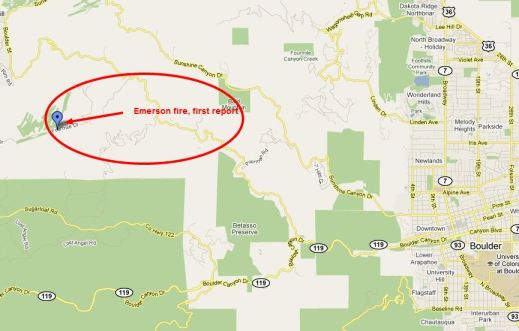 map of Emerson or Fourmile fire near boulder