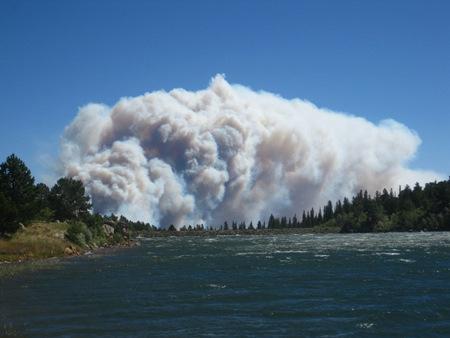 Smoke plume as seen from Glacier Lake