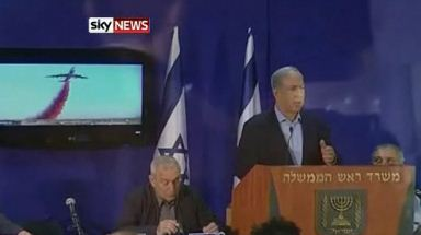 Prime Minister Benjamin Netanyahu speaks about firefighting aircraft