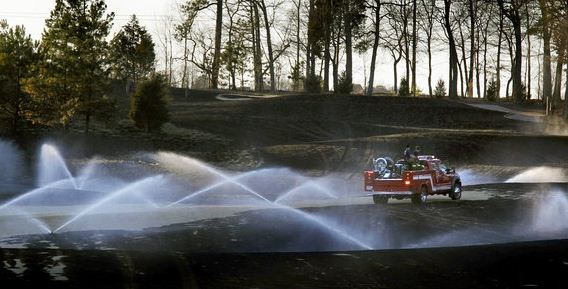 Golf course fire engine sprinklers