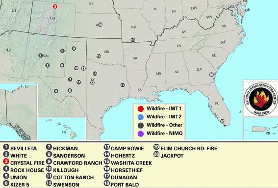 Large wildfires April 11, 2011