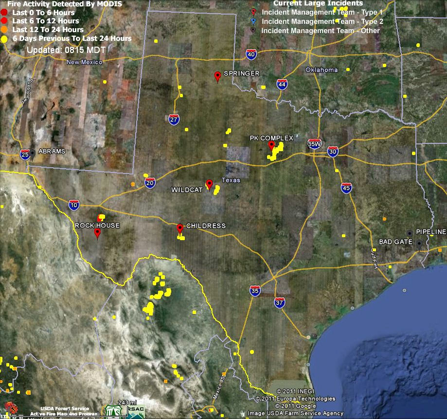 Large Incident Fire Map.Update And Map Of Rockhouse Fire In Texas