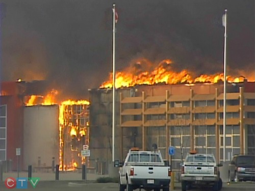 Slave Lake town hall burning